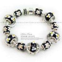 Free Fast Shipping European Style 925 Silver Charm Bracelet Women with Black Lampwork Glass Beads Fashion Jewelry PA1284