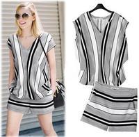 Free shiping 2014 women's fashion chiffon shirt shorts set ladies streetwear black and white stripe set