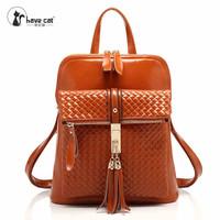 school bags for women backpack vintage tassel pu shoulder bag fringe college bags girls kanken