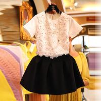 2014 three-dimensional flower short-sleeve T-shirt puff short skirt set