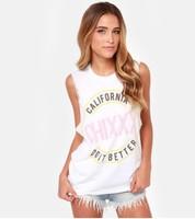 Free shipping Fashion 2014 100%  cotton women's  streetwear stick badge print o-neck sleeveless ladies t-shirt tees