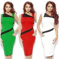 Fashion Uprising 2014 Casual slim hip slim pencil dresses color block sleeveless plus size one-piece dresses