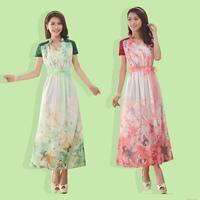 2014 New Plus Size 5XL Over-the-knee Flowers Chiffon Lace Patchwork Full Dress Big Size XL 2XL 3XL 4XL XXXXXL