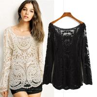 New 2014 Lace Chiffon Blouse Blusas Femininas Camisas Atacado Roupas Women Long Sleeve Shirts Saia Sheer Blouses Loose Plus Size