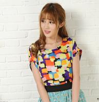 Free Shipping 2014 Fashion Women O-Neck Short Sleeve Print Chiffon T Shirt