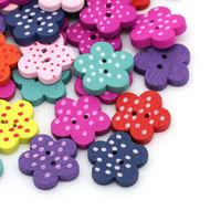 200PCs Wood Buttons Sewing Scrapbooking Flower Dots Mixed 15mmx14mm