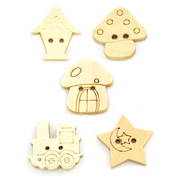 """Wholesale 100PCs Wood Sewing Buttons Scrapbooking 2 Holes Mixed 6/8""""x 3/8""""-1""""x 7/8"""" Free Shipping"""
