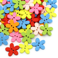 Free Shipping 200PCs Wooden Buttons Sewing Scrapbooking Flowers Shaped 2 Holes Mixed Over $115 Free Express