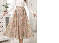 Summer New Satin Woman's Skirt Mopping Floor Skirt Elastic Waist Skater Skirts  Female Size M L