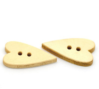 """Free Shipping 300PCs Love Heart 2 Holes Wood Sewing Buttons Scrapbooking 22mmx11mm(7/8""""x 3/8"""") Clothes Accessories"""