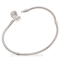 Fashion Women European  Silver Plated Bracelet & Bangle Snake Chain with Barrel Clasp fit for Pandora or Chamilia Bead Charms