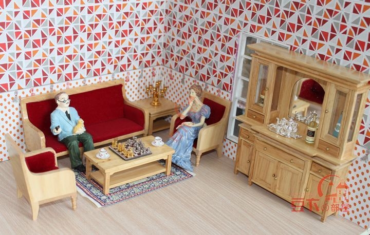 Free Shipping !burlywood pure wood sofa cabinet 6pcs bedroom sitting room ~ 1/12 Scale Dollhouse Miniature Furniture(China (Mainland))