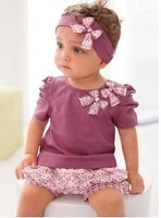 2014 3 Pcs Kids Girls Baby Short Top+ Pant +Headband Set Clothes Costume Outfit