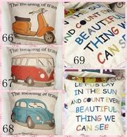 Free shopping car home sofa cushion alphabet grid cotton pillowcase washable don't include pillow