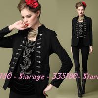 Brand High-end Plus Size Vintage jacket women Retro Stylish Black Tops Outerwear 2014 Spring Autumn Ladies Coat Clothes 1237