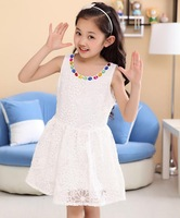 Free Shipping New Fashion Summer Dress Princess Lovely Pure Gems Embroidered Partysu Kids Girl Dresses Clothes Baby Clothing