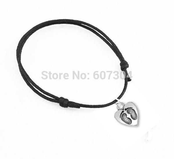 new fashion wax cord zinc alloy 50pcs a lot baby feet charm bracelets(China (Mainland))
