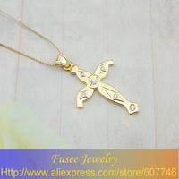 IGZ01738 18K Gold Plated cross pendant 3pcs/lot