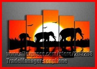 Framed 5 Panel Large South Africa Wall Art African Oil Painting on Canvas Unique Gift Elephant Home Decoration XD00062