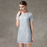 Freeshipping 2014 New Europeean American Top Plus Size 4XL 5XL Dresses Summer Fashion Solid Embroidery Organza Short Women Dress