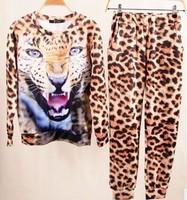 2014 Fashion Spring Animal Leopard 3D Printed sport suit women Sweatshirt tracksuit Sportswear set for Women Free shipping