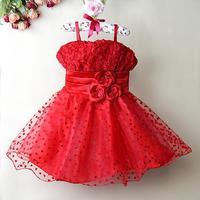 Retail 2014 new sleeveless 3D Solid rose flower baby Girls Dress  Princess Party Bow children Kids Formal Dress