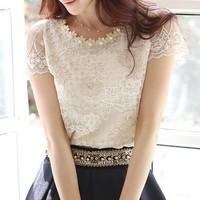 2013 Summer Women's Chiffon Shirt Lace Top Beading Embroidery O-Neck Blouse Free Shipping LSH8027