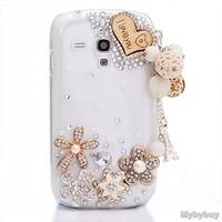 3D Love Heart Pendant Crystal Bling Diamond Case Cover For Samsung Galaxy S3 III Mini I8190.