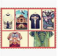 new 2014 best quality church pattern 3d printed cotton t shirts mens shorts sleeve fashion man hip hop t-shirt
