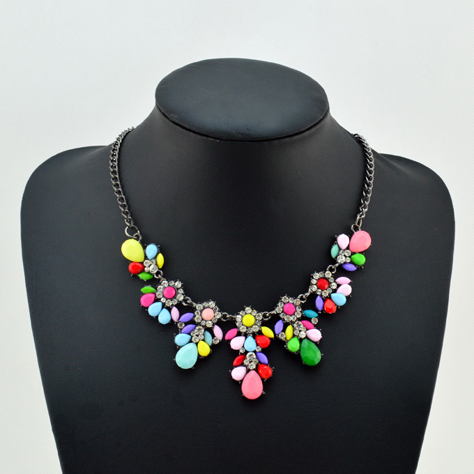 2014 New Design Vintage Chain Colorful Statement Necklace Pendant Fashion Accessories For Women Wholesale Free Shipping JN52103(China (Mainland))