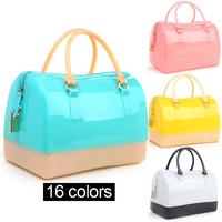 2014 High quality women's furly Candy bag Boston brand messenger bag handbag patchwork totes summer Beach bags silicon