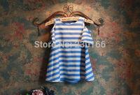 New Arrival 2014 Summer Kids Girls Dresses Korean Fresh Dresses Classical Sky Blue Striped Mother & Daughter Dresses K2014051