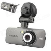 "Allwinner Dual Lens AT970 2.7"" FULL HD 1080P 5.0MP CMOS +1.3MP Car DVRs Camcorder w/ HDMI / Rearview - Ash Black"