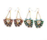 2014 new dangle earring drop earring rhinestone Gradual color gorgeous party earring 530