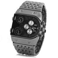 Vogue Three Time Zone Relogio Black Sports Mens full steel Military Army Dress Gift Quartz Wrist Watches 2014 New Relojes