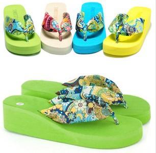 flor de boémia de verão 2014 flip flops plataforma cunhas para praia de c