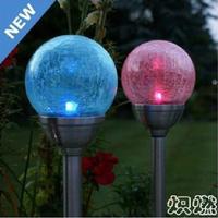 Solar lights crack round ball garden light lawn lamp led outdoor light stainless steel lantern garden lights