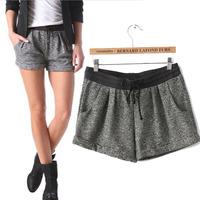 Womens high waisted Sport shorts New 2015 Fashion Spring Summer women Linen Cotton High Waist Sports short shorts For Woman