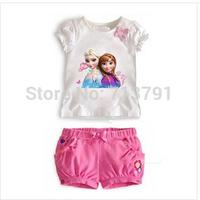 2014 hot sale Girls clothing sets girl's Sofia princess Bow flower sets shirts+short girl's clothing sets