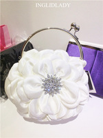 White Satin High quality soft evening women fashion bag big flower design hot sale new arrival bags free shipping