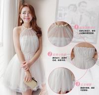 2014 women's summer one-piece dress pompon formal dress sexy pearl halter-neck racerback dress