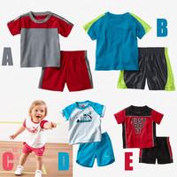 2014 new Children girls boys summer top brand sport suit 2 pcs set children clothing set children close set