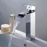 Modern Waterfall Deck Mounted Brass Chrome Single Handle Tall Bathroom Vanity Sink Faucet / Basin Tap / Torneira Mixer (UP-2802)