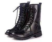 2014 Medium(b,m) Botas Femininas Fashion Round Toe Cool Ankle Short Army Boots Flat Winter Autumn Shoes Lace-up Pu Antislip