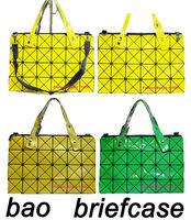Fashion issey miyake bao bag geometry classic plaid bag briefcase brief case zip shoulder bag 2014