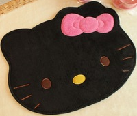 Cute Black Hello Kitty Head Bedroom Floor Carpet Cartoon Rug Mat Free Shipping