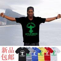 The new 2014 t-shirt Ronaldinho fans commemorate cotton round neck short sleeve  men's sports t-shirt  let's go brazil
