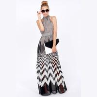 2014 NEW ARRIVAL Free Shipping Women Summer Chiffon Wavy Black and White Stripes Dress Sleeveless Dress Maxi Dress