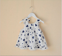 2014 Retail one piece kids baby summer clothing girls Sleeveless dresses heart Princess Bow dress with pure cotton