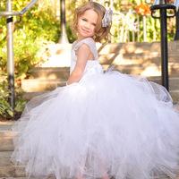 Brand Designer Girl Dress Princess Wedding White Multilayer Lace TuTu Dresses For  Flower Fairy C30-25